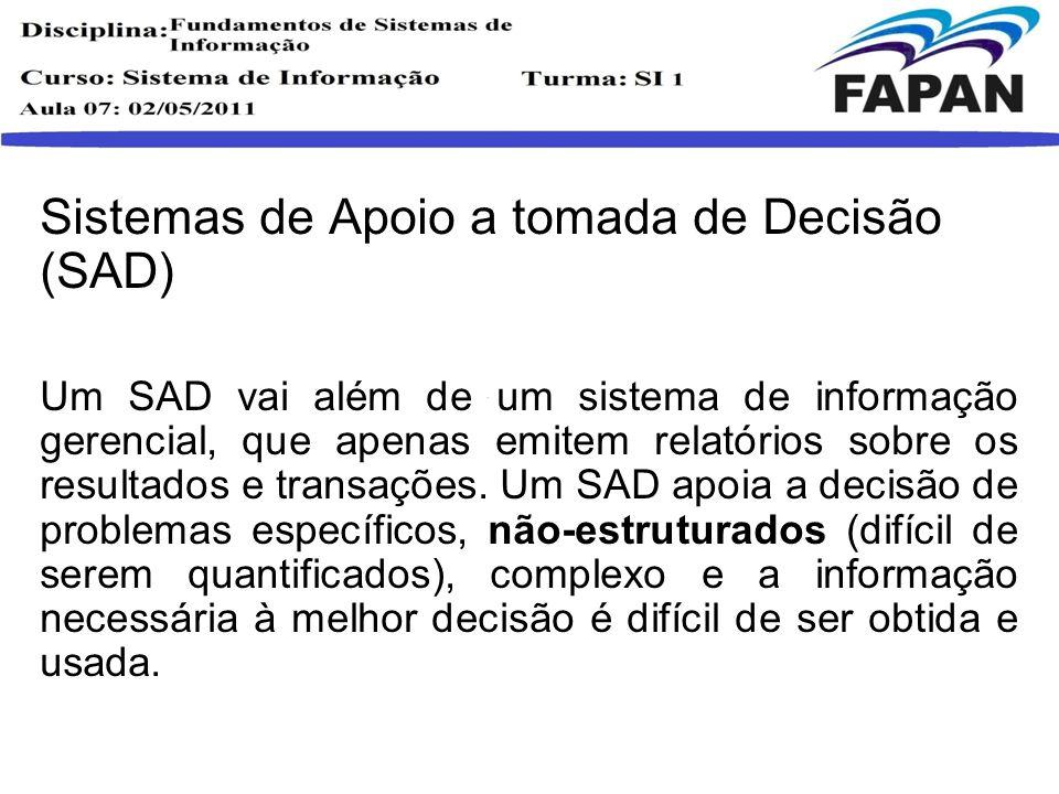 Sistemas de Apoio a tomada de Decisão (SAD)