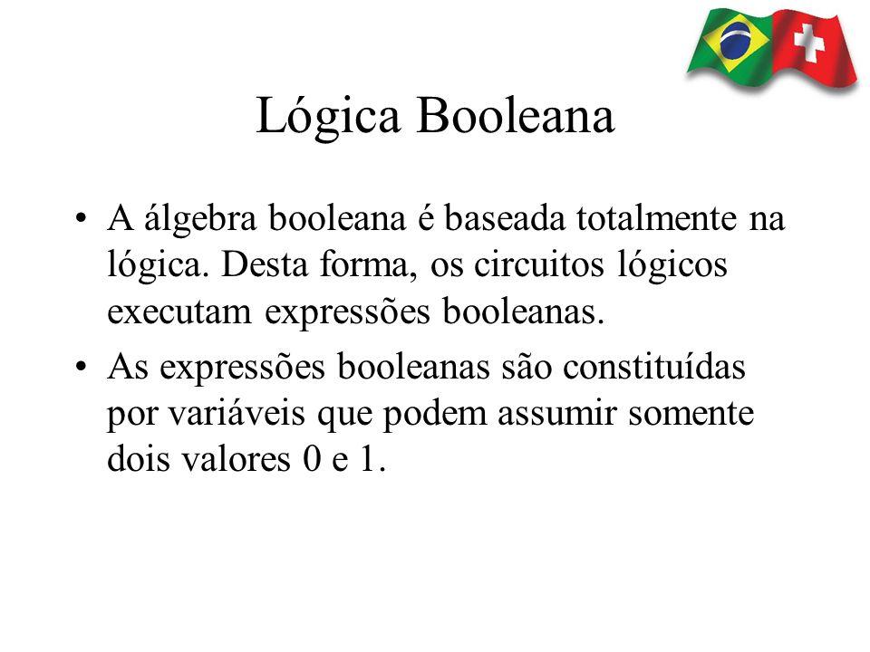 Lógica Booleana A álgebra booleana é baseada totalmente na lógica. Desta forma, os circuitos lógicos executam expressões booleanas.