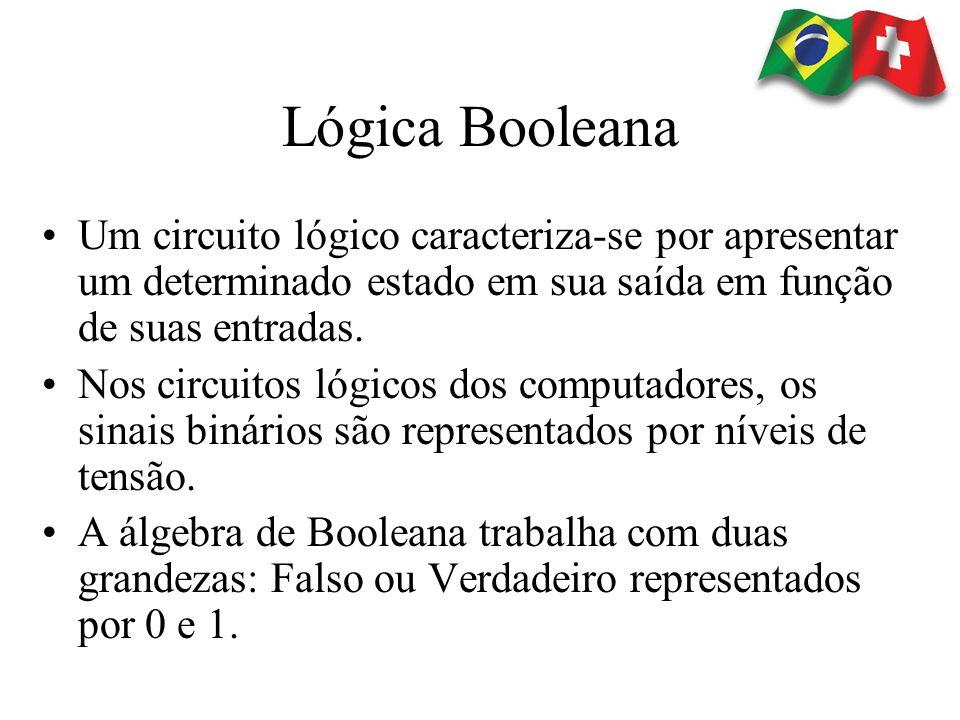 Lógica Booleana Um circuito lógico caracteriza-se por apresentar um determinado estado em sua saída em função de suas entradas.