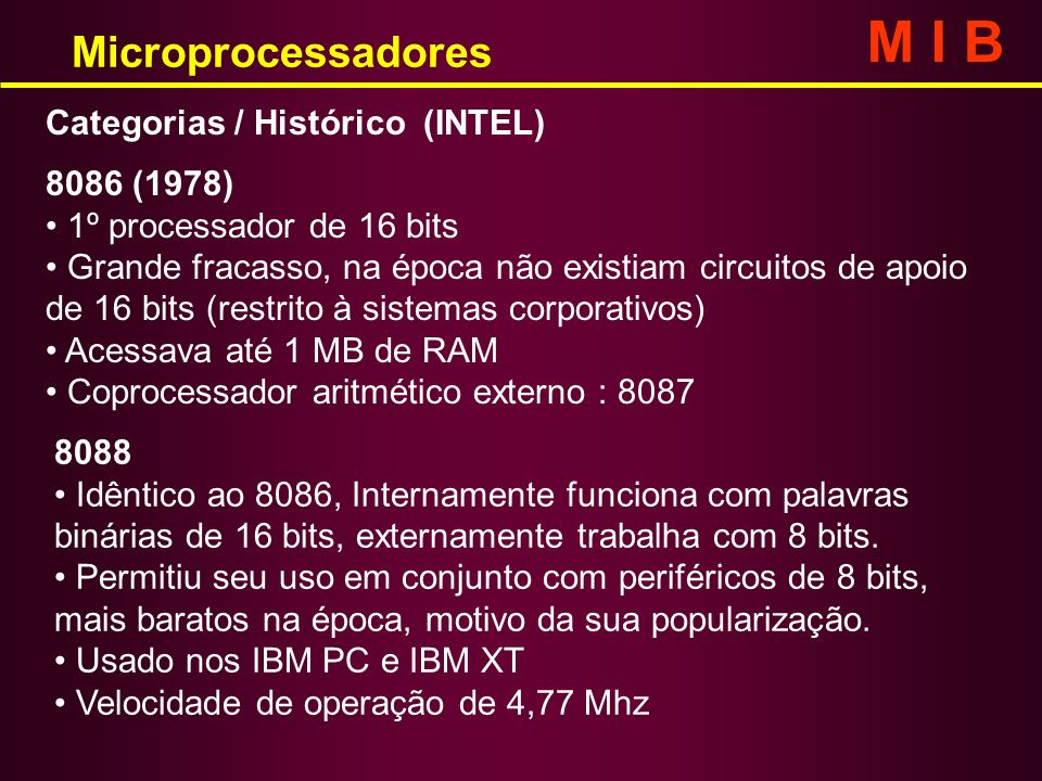 M I B Microprocessadores Categorias / Histórico (INTEL) 8086 (1978)