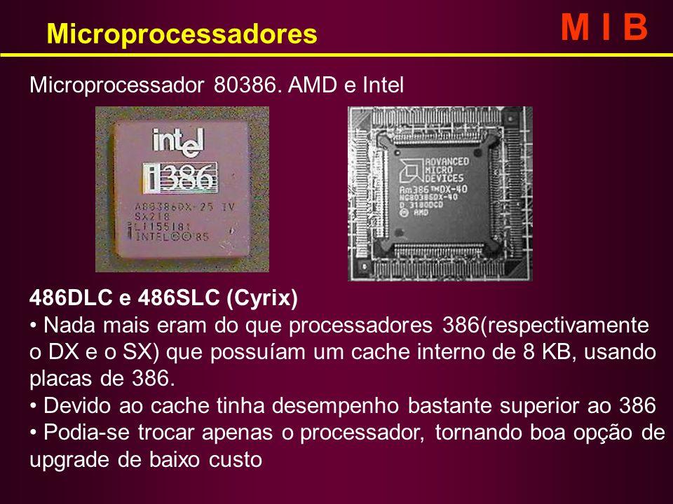 M I B Microprocessadores Microprocessador 80386. AMD e Intel