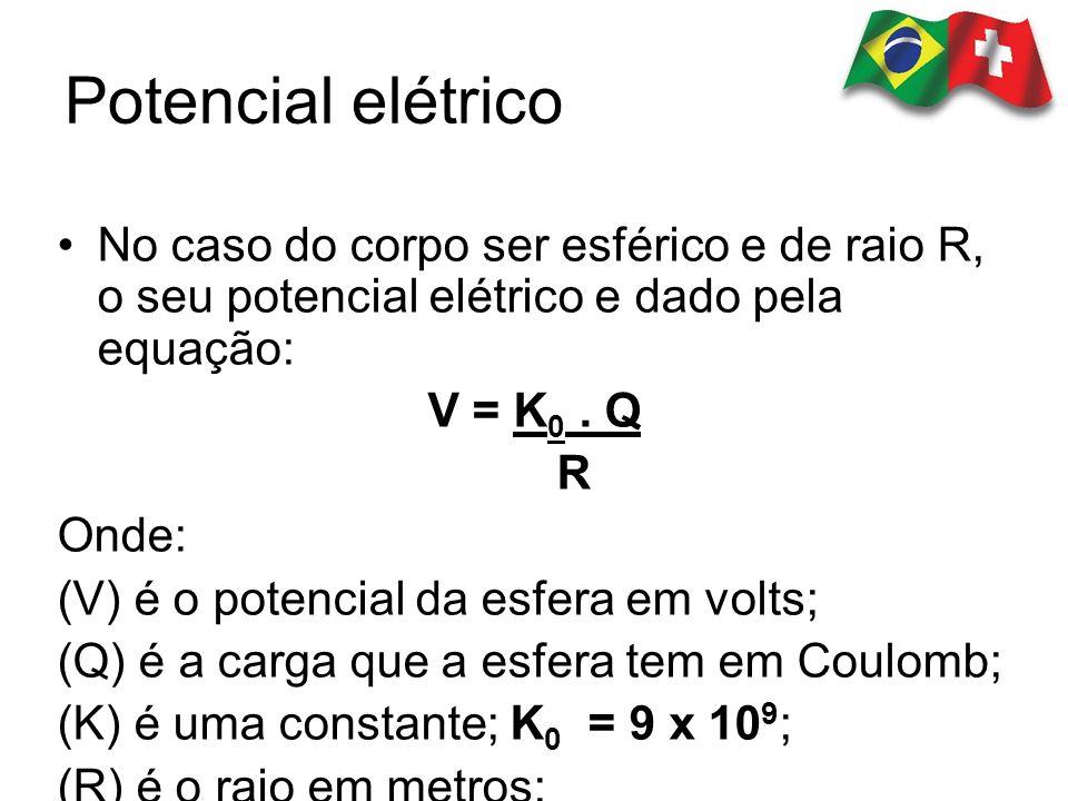 Potencial elétrico No caso do corpo ser esférico e de raio R, o seu potencial elétrico e dado pela equação: