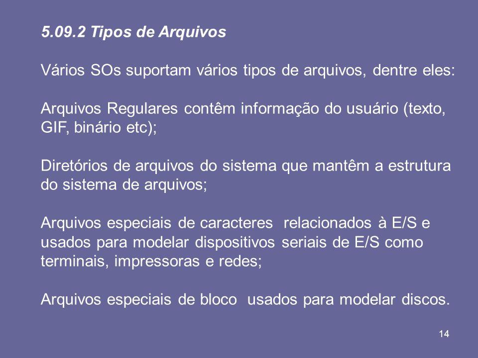 5.09.2 Tipos de Arquivos Vários SOs suportam vários tipos de arquivos, dentre eles: