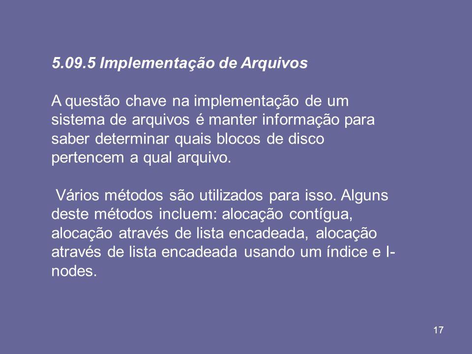 5.09.5 Implementação de Arquivos