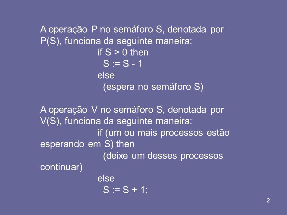 A operação P no semáforo S, denotada por P(S), funciona da seguinte maneira: