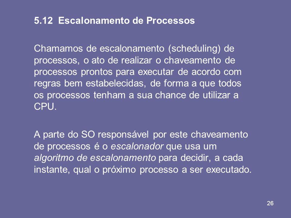 5.12 Escalonamento de Processos