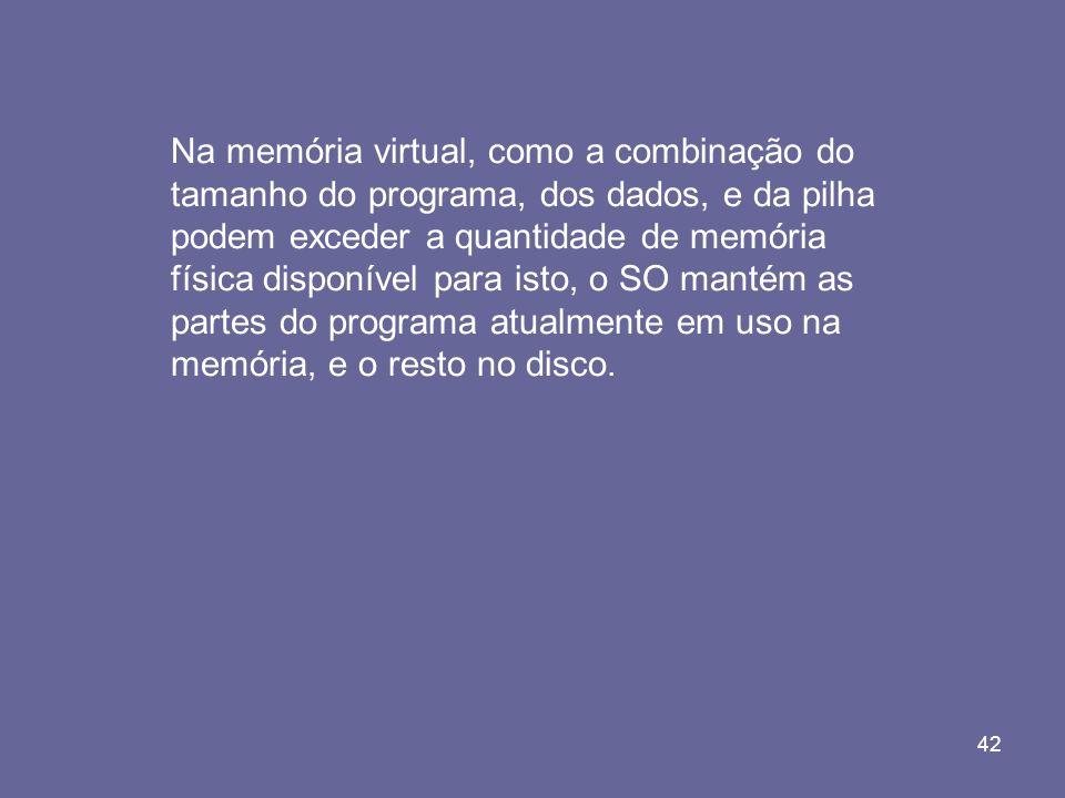 Na memória virtual, como a combinação do tamanho do programa, dos dados, e da pilha podem exceder a quantidade de memória física disponível para isto, o SO mantém as partes do programa atualmente em uso na memória, e o resto no disco.
