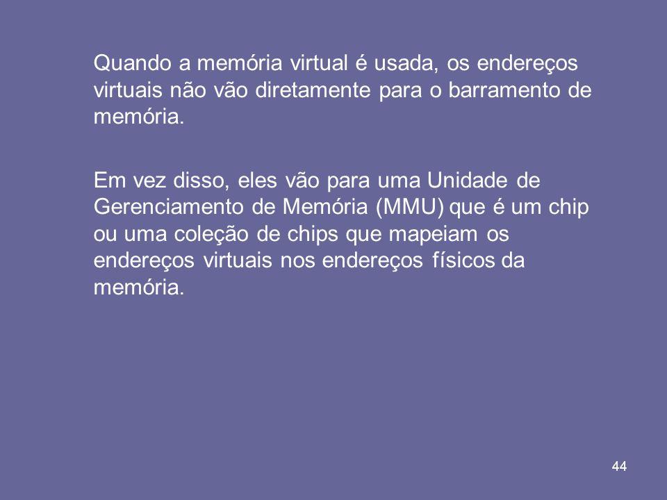 Quando a memória virtual é usada, os endereços virtuais não vão diretamente para o barramento de memória.