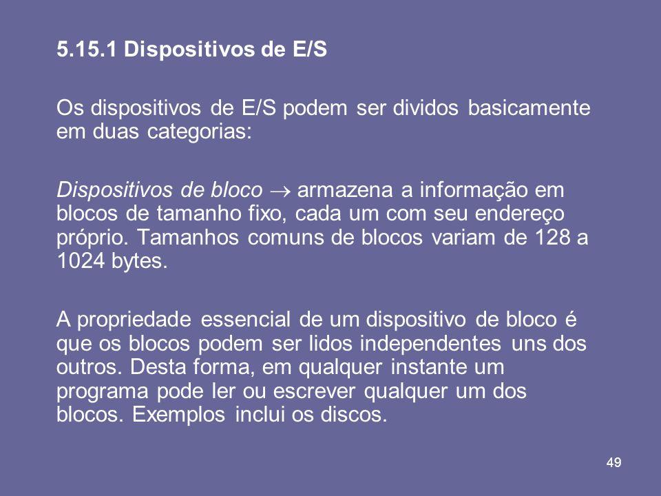 5.15.1 Dispositivos de E/S Os dispositivos de E/S podem ser dividos basicamente em duas categorias: