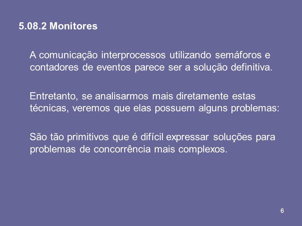 5.08.2 Monitores A comunicação interprocessos utilizando semáforos e contadores de eventos parece ser a solução definitiva.