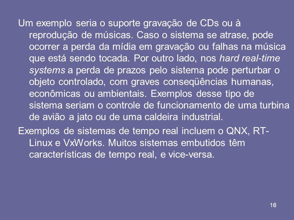 Um exemplo seria o suporte gravação de CDs ou à reprodução de músicas