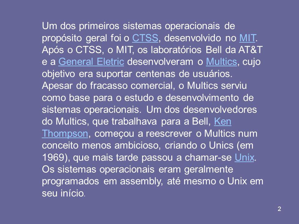Um dos primeiros sistemas operacionais de propósito geral foi o CTSS, desenvolvido no MIT.