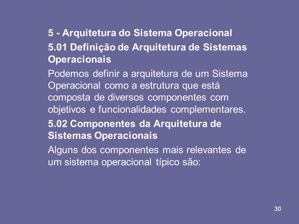 5 - Arquitetura do Sistema Operacional
