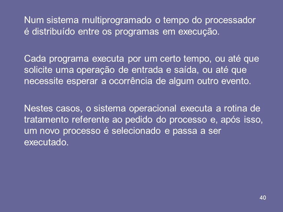 Num sistema multiprogramado o tempo do processador é distribuído entre os programas em execução.
