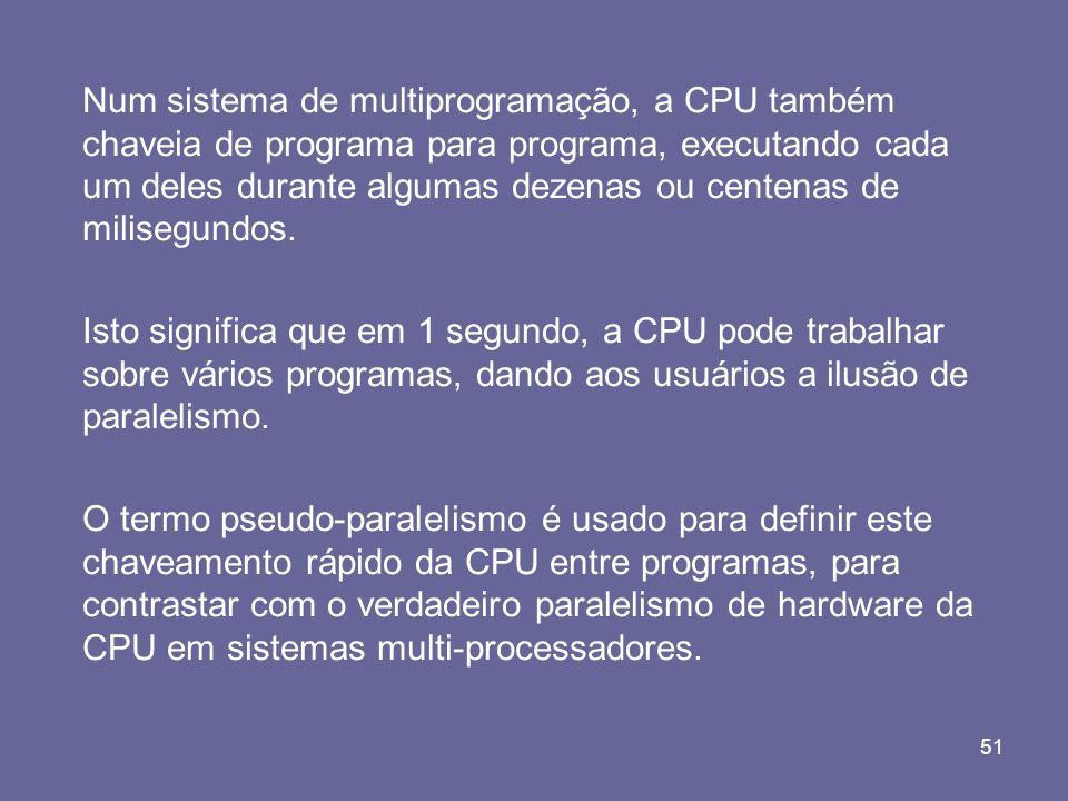 Num sistema de multiprogramação, a CPU também chaveia de programa para programa, executando cada um deles durante algumas dezenas ou centenas de milisegundos.