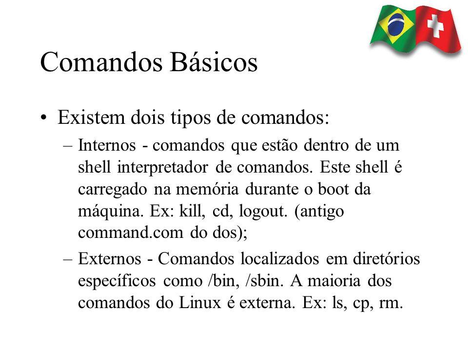 Comandos Básicos Existem dois tipos de comandos: