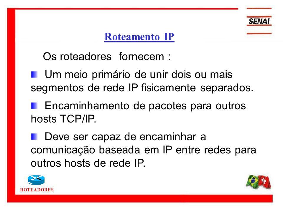 Roteamento IP Os roteadores fornecem : Um meio primário de unir dois ou mais segmentos de rede IP fisicamente separados.