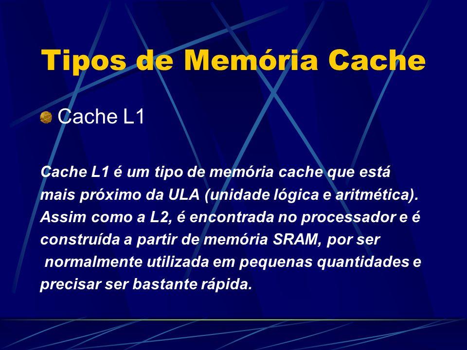 Tipos de Memória Cache Cache L1