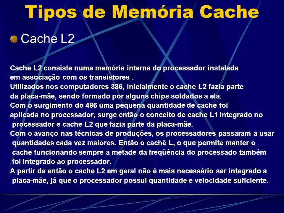 Tipos de Memória Cache Cache L2