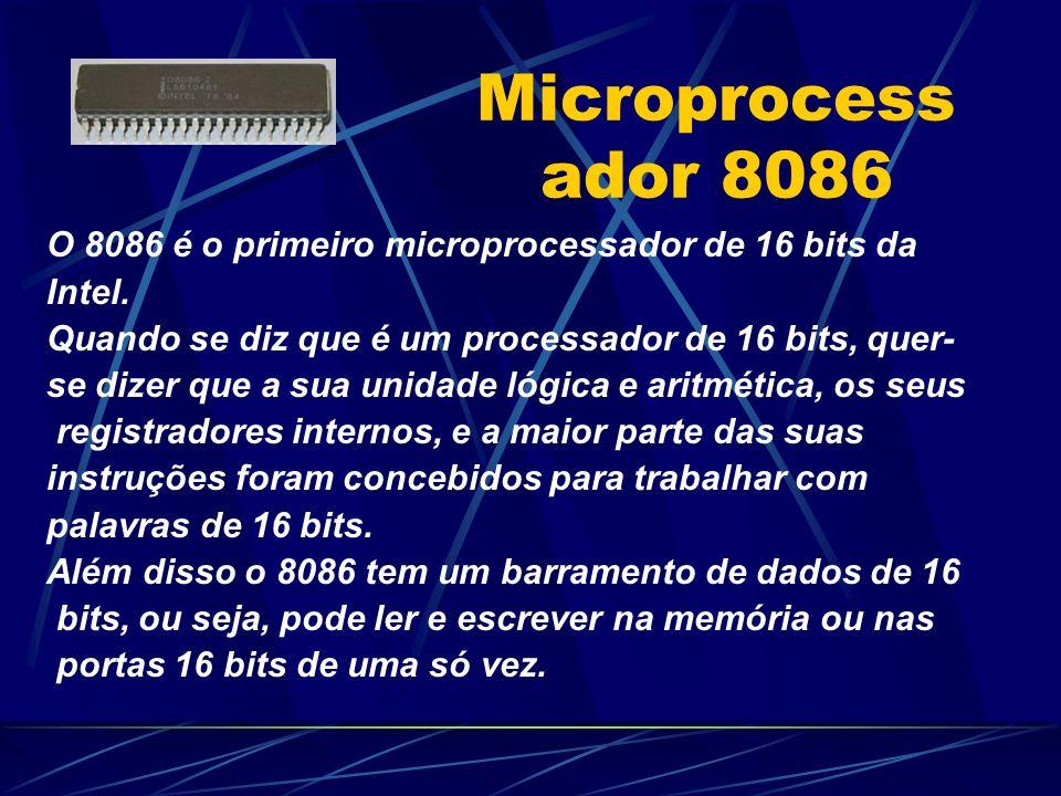Microprocessador 8086 O 8086 é o primeiro microprocessador de 16 bits da. Intel. Quando se diz que é um processador de 16 bits, quer-