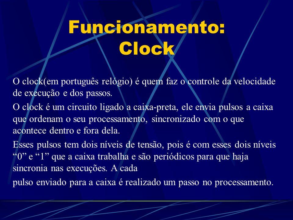 Funcionamento: Clock O clock(em português relógio) é quem faz o controle da velocidade de execução e dos passos.