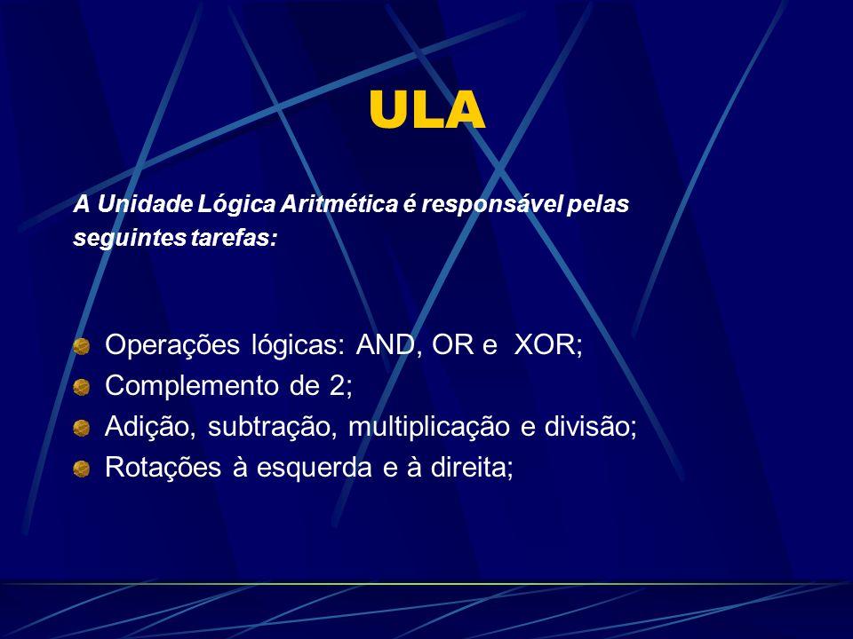 ULA Operações lógicas: AND, OR e XOR; Complemento de 2;