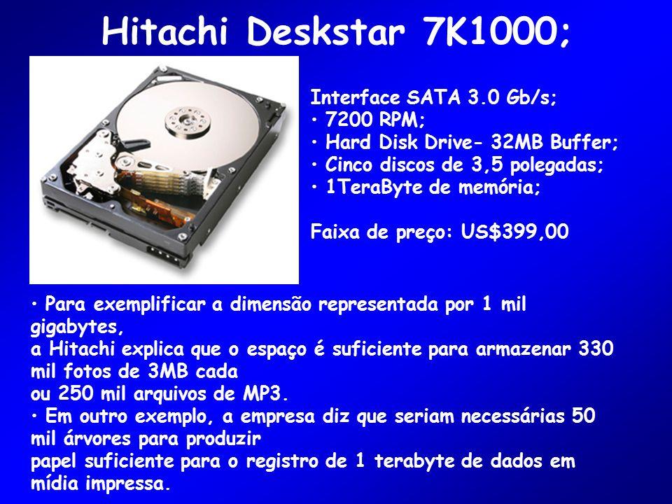 Hitachi Deskstar 7K1000; Interface SATA 3.0 Gb/s; 7200 RPM;