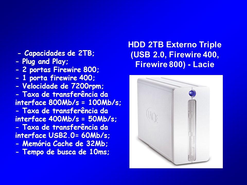 HDD 2TB Externo Triple (USB 2.0, Firewire 400, Firewire 800) - Lacie