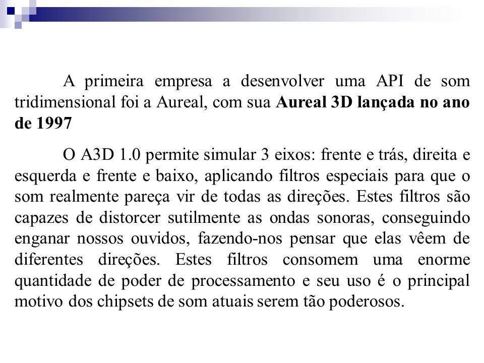 A primeira empresa a desenvolver uma API de som tridimensional foi a Aureal, com sua Aureal 3D lançada no ano de 1997