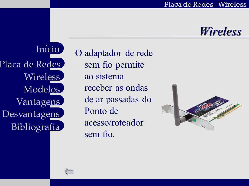 Wireless O adaptador de rede sem fio permite ao sistema receber as ondas de ar passadas do Ponto de acesso/roteador sem fio.