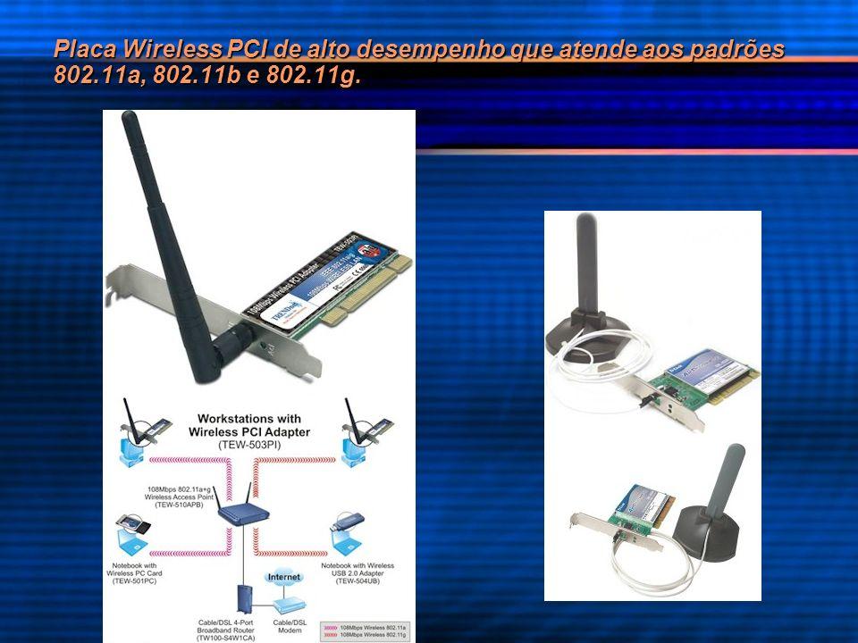 Placa Wireless PCI de alto desempenho que atende aos padrões 802