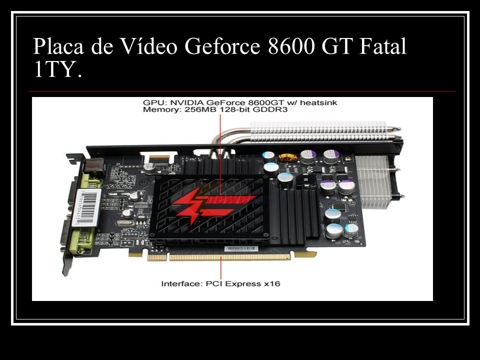 Placa de Vídeo Geforce 8600 GT Fatal 1TY.