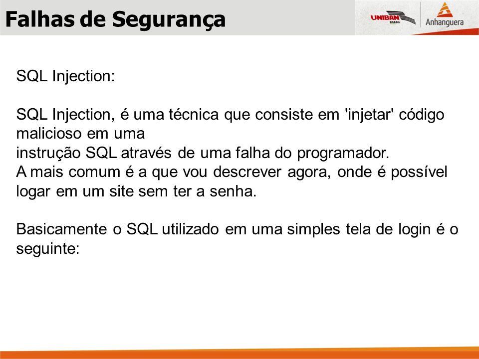 Falhas de Segurança SQL Injection: