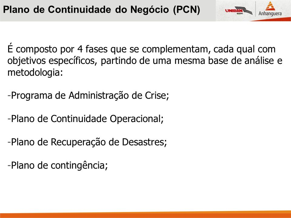 Plano de Continuidade do Negócio (PCN)