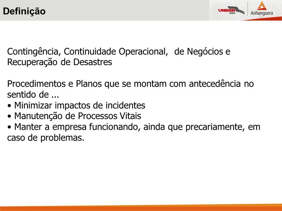 Definição Contingência, Continuidade Operacional, de Negócios e Recuperação de Desastres.