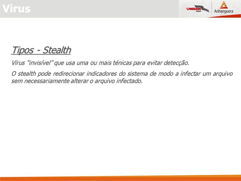 Virus Tipos - Stealth. Vírus invisível que usa uma ou mais ténicas para evitar detecção.