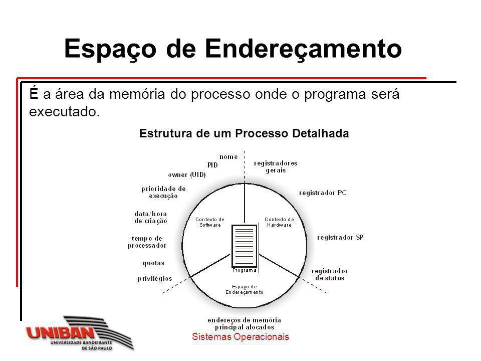 Espaço de Endereçamento Estrutura de um Processo Detalhada