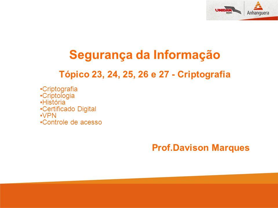 Segurança da Informação Tópico 23, 24, 25, 26 e 27 - Criptografia