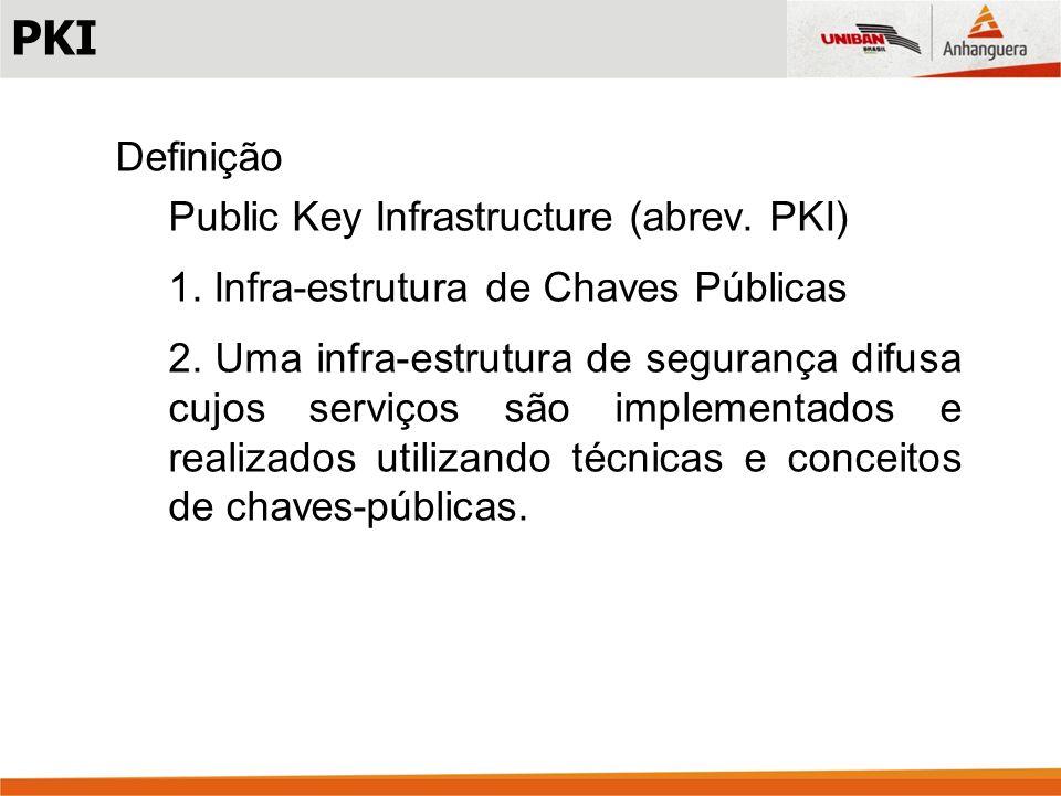 PKI Definição Public Key Infrastructure (abrev. PKI)