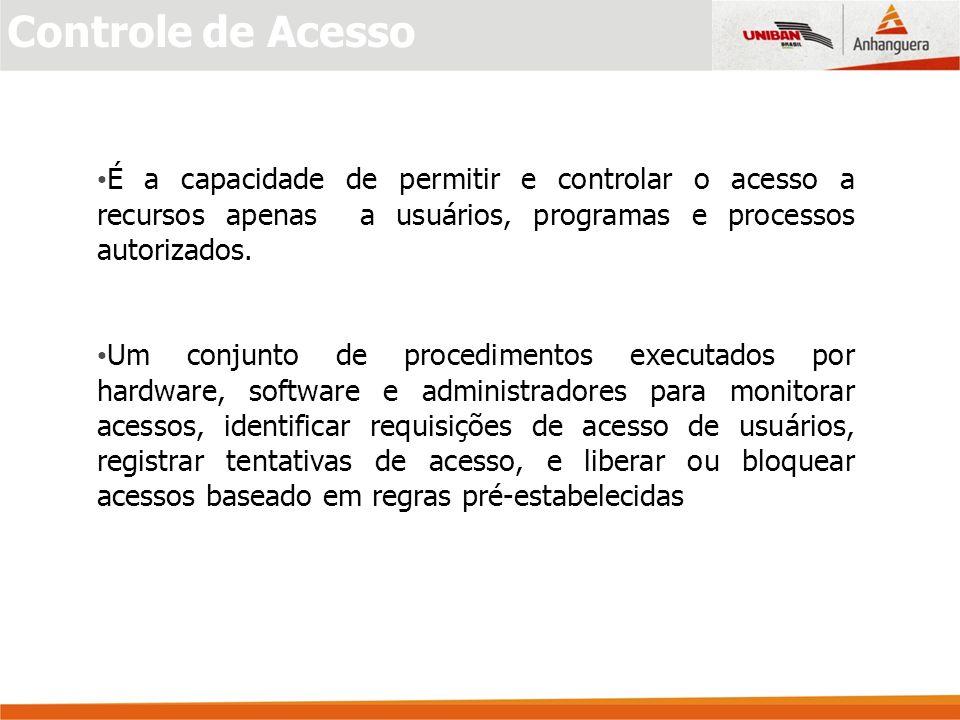 Controle de Acesso É a capacidade de permitir e controlar o acesso a recursos apenas a usuários, programas e processos autorizados.
