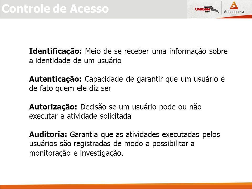 Controle de Acesso Identificação: Meio de se receber uma informação sobre a identidade de um usuário.