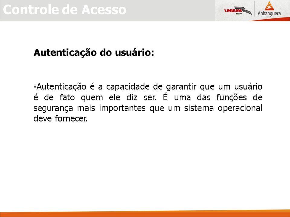 Controle de Acesso Autenticação do usuário: