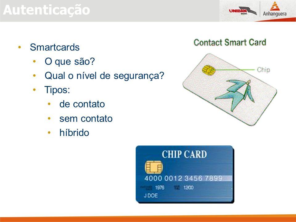 Autenticação Smartcards O que são Qual o nível de segurança Tipos: