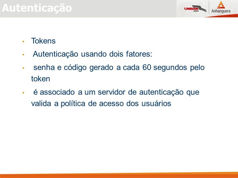 Autenticação Tokens Autenticação usando dois fatores: