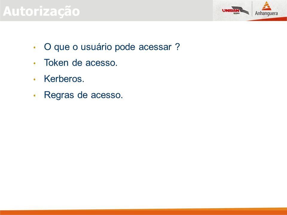 Autorização O que o usuário pode acessar Token de acesso. Kerberos.