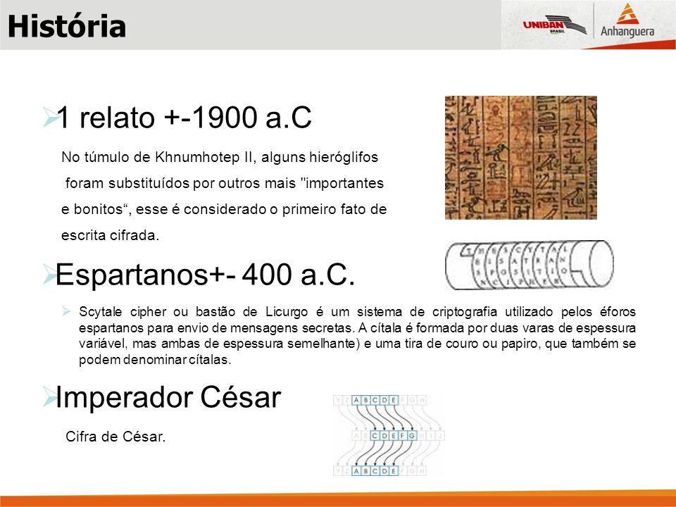 História 1 relato +-1900 a.C Espartanos+- 400 a.C. Imperador César