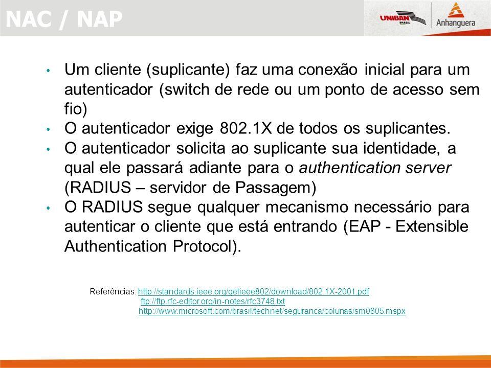 NAC / NAP Um cliente (suplicante) faz uma conexão inicial para um autenticador (switch de rede ou um ponto de acesso sem fio)