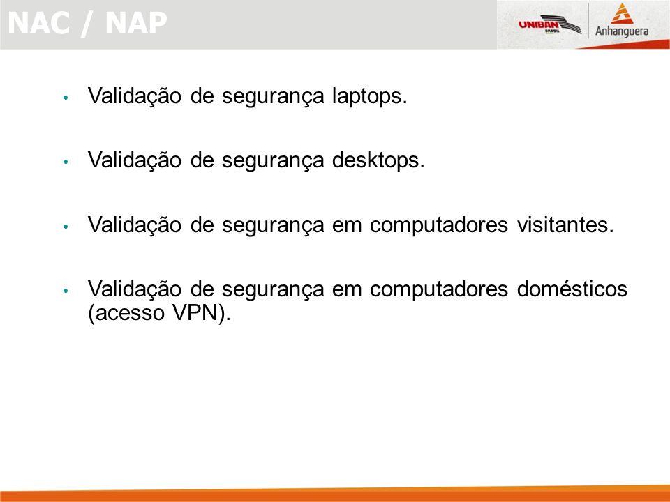 NAC / NAP Validação de segurança laptops.