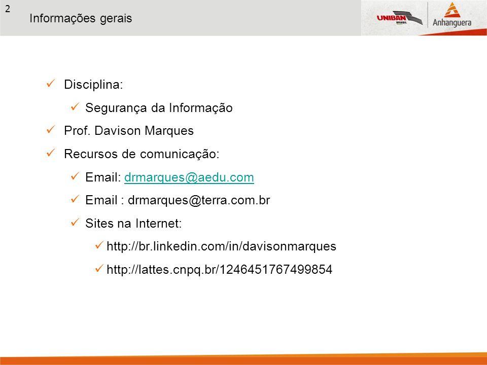 Segurança da Informação Prof. Davison Marques Recursos de comunicação: