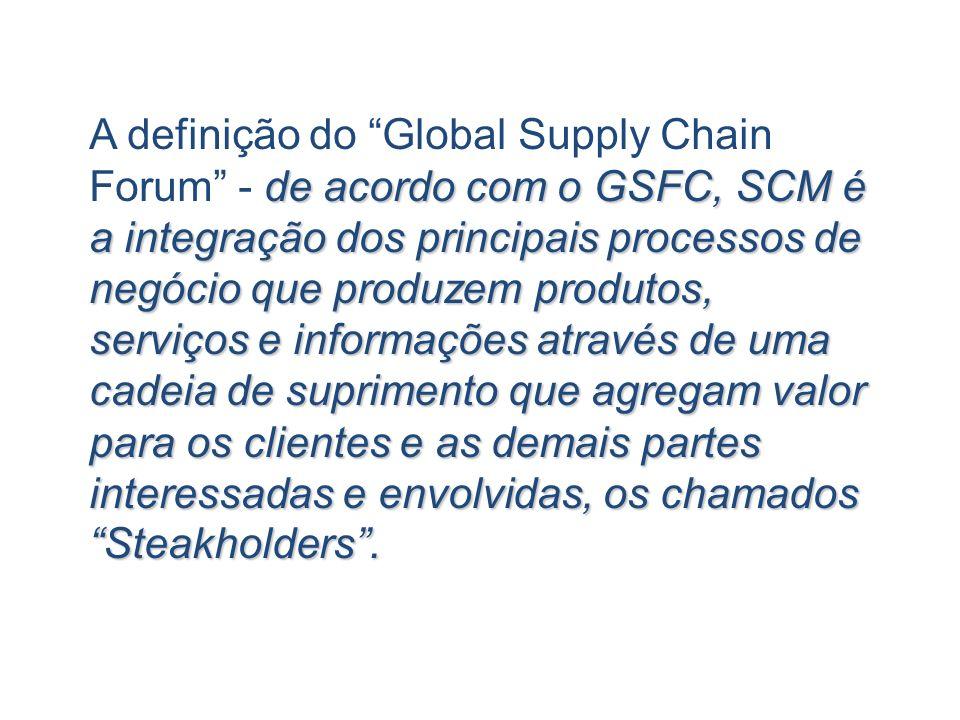 A definição do Global Supply Chain Forum - de acordo com o GSFC, SCM é a integração dos principais processos de negócio que produzem produtos, serviços e informações através de uma cadeia de suprimento que agregam valor para os clientes e as demais partes interessadas e envolvidas, os chamados Steakholders .